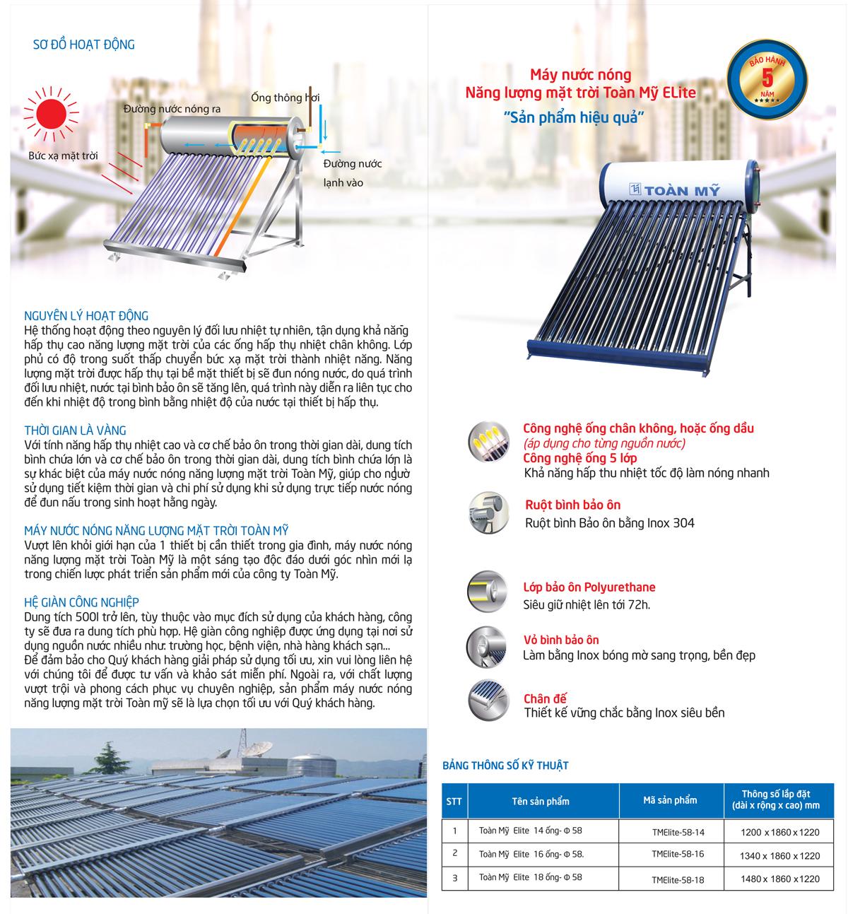 Máy nước nóng năng lượng mặt trời Elite 140 lít Toàn Mỹ