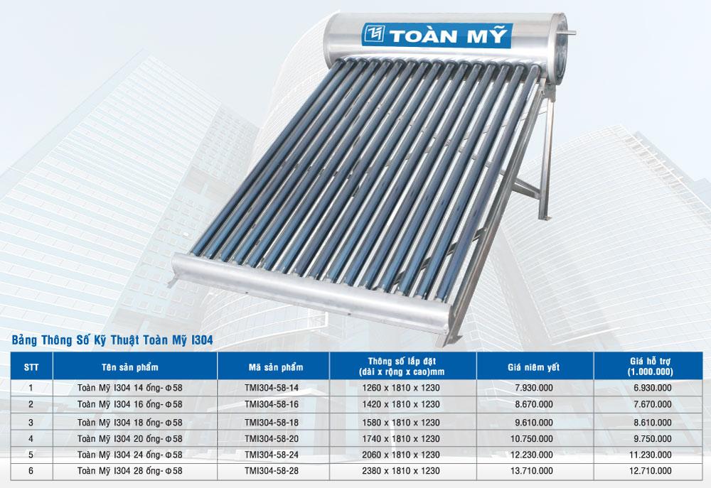 Giá máy nước nóng năng lượng mặt trời I304